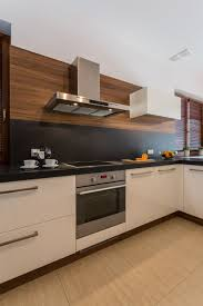 small kitchen modern home white cabinets black backsplash design