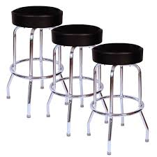 amazon com jet black chrome 30 inch swivel bar stool set of