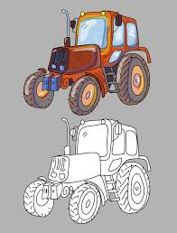 coloring book with tractor stock vector image of objects 61888894