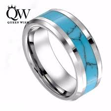 blue promise rings images Queenwish 8mm mens womens tungsten blue turquoise inlay wedding jpg