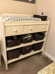 Changing Table Storage Baskets Pottery Barn Ultimate Changing Table In Antique White With