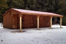 Loafing Shed Plans Horse Shelter by Post U0026 Beam Horse Barns Run In Shed Row Rancher With Overhang