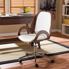 white upholstered office chair baxton studio watson white faux leather upholstered office chair