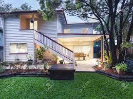 stylish australian home at dusk stock photo picture and royalty