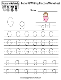 letter g writing practice worksheet kids learning pinterest