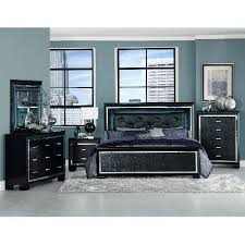 Black Modern Contemporary Piece King Bedroom Set Allura RC - Rc willey king bedroom sets