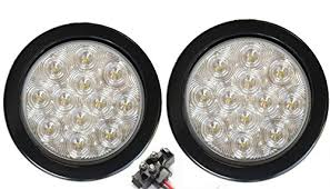2 led trailer lights pair of 2 led 4 round back up reverse light kits include grommet