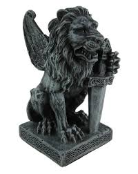 winged guardian lion gargoyle with sword statue figurine home