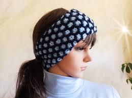 ear warmer headband knitted blue two tone cable skiing ear warmer headband