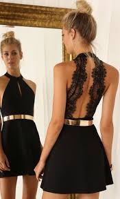 Black And Gold Lace Prom Dress Cut Out Little Black Homecoming Dress With Lace Back Short Prom