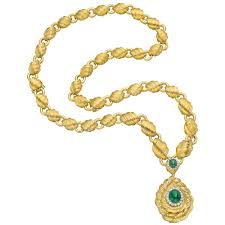 long gold link necklace images Estate david webb 18k gold link necklace with emerald pendant drop jpg