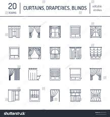 window curtains shades line icons various stock vector 626781218