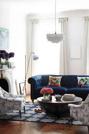 home decor blue sofa inspiration living in color print