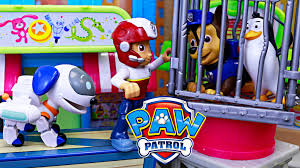 paw patrol rescue kidnapped caged pets rooftop robo dog