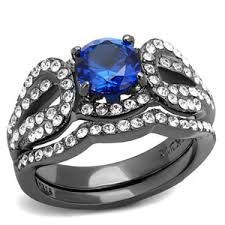 black stainless steel wedding rings artk2741 s 2 2 ct princess cut cz light black stainless