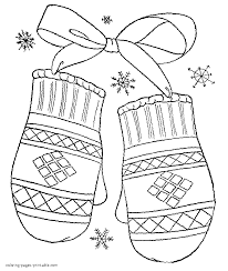 winter holiday coloring pages mittens at printable itgod me