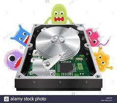 Harddisk Vira Inside Of A Harddisk With A Virus Computer Stock Vector
