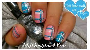 blue and pink plaid nail art design with rhinestones tutorial video