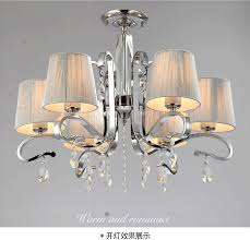 Metal Ceiling Light Shades Chandelier Fabric Shade Glass Crystalwhite