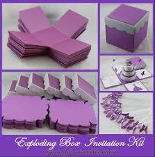 invitation kits for wedding purple u0026 silver exploding box w 3 tier cake invitation kits
