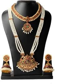 short pearl necklace images Fashionatelier 3 line long pearl haram with pendant and short jpg