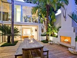 exterior minimalist garden design and outdoor dining room