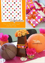 pink and orange baby shower design dazzle