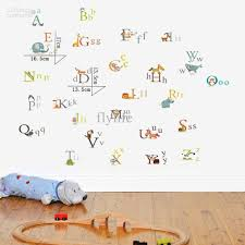 Fabric Wall Decals For Nursery Colorful Alphabet Letters Diy Decorative Wall Stickers Decals For