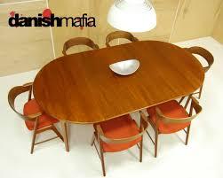 mid century danish modern oval teak dining table w 2 leaves