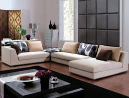 contemporary white furniture design living room with wooden table