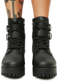 buckle motorcycle boots buckle lace up black combat boots dolls kill