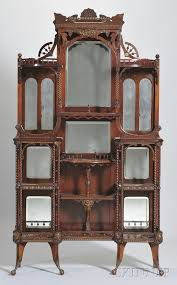 Cherry Wood Curio Cabinet Curio Cabinet Victorian Antique Curio Cabinet1950