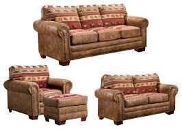 Sierra Lodge  Piece Set With Sleeper Rustic Living Room - American furniture living room sets