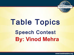 Table Topics Toastmasters Table Topics Contest Preparation