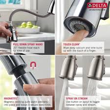 Delta Savile Stainless 1 Handle Pull Down Kitchen Faucet by Delta Leland Kitchen Faucet Kitchen Arctic Stainless Cassidy