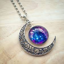 purple necklace pendant images Crescent moon purple galaxy pendant necklace magick jewelry png