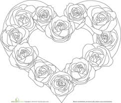 color the heart of roses worksheets worksheets for kids and