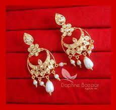 golden earrings ze69 patiala phulkari style golden earrings karwa chauth