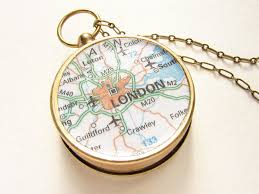 Compass Map Personalized Map Necklace London Map Compass Necklace London