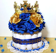 royal blue and gold baby shower cake centerpiece with crown for royal prince baby