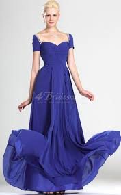 a line off the shoulder long royal blue chiffon bridesmaid dresses
