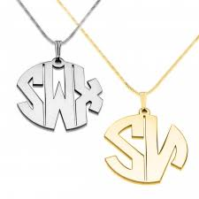 Block Monogram Necklace Monogram Necklace Customized Necklaces At Onecklace