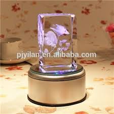 Led Light Base For Centerpieces by 3d Laser Crystal Block Big Rotary Round Crystal Led Light Base For