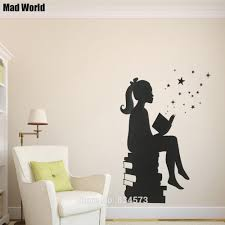 online buy wholesale world mad from china world mad wholesalers mad world girl reading books silhouette wall art stickers wall decal home diy decoration removable