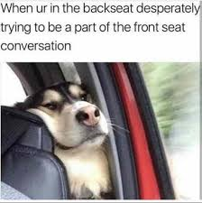 Trip Meme - in the backseat desperately trying to be part of the front seat