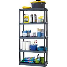 Shelving Units For Bathrooms Workchoice 5 Shelf Heavy Duty Plastic Storage Unit Black