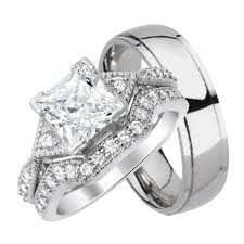 silver wedding ring sets his titanium and hers sterling silver wedding band rings set
