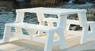 Park Bench And Table Picnic Table Bench With Diy Convertible Design And White Painted
