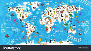 illustrated map of animals the world edition animal