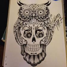 ornamented owl and sugar skull tattoo design tattooimages biz
